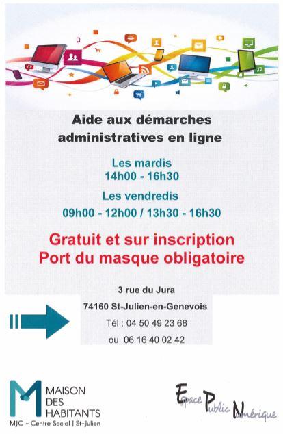 Affiche aide aux démarches administratives informatique