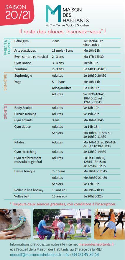 Flyer places disponibles activités régulières